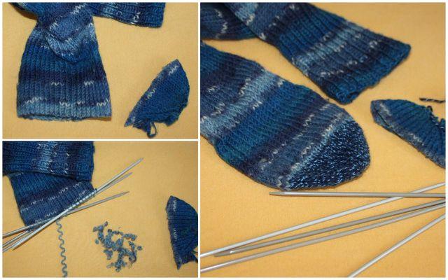 Indem du eine neue Spitze strickst, kannst du die Babysocken gleichzeitig reparieren und verlängern.