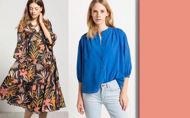 Maxikleid mit Floralem Print und Bluse aus Baumwoll-Crepe