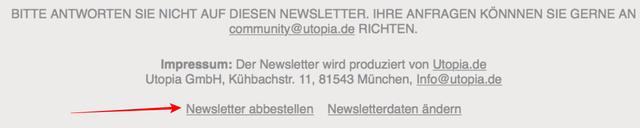 Utopia-Newsletter abbestellen