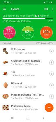 Die Kalorien, Fett & Eiweißzähler-App