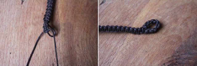 Für mehr Stabilität umknüpfst du den Verschluss deines Makramee-Armbands.