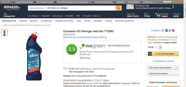 Anzeige der WeGreen-Nachhaltigkeitsampel per Firefox-Addon auf Amazon.de