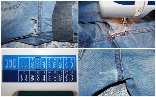 Um die Jeans zu flicken, benötigst du ein Stück alten Jeans-Stoff.
