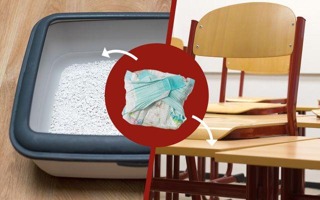 Durch technisch aufwändiges Recycling werden schmutzige Windeln zu Katzenstreu und Schulbänken