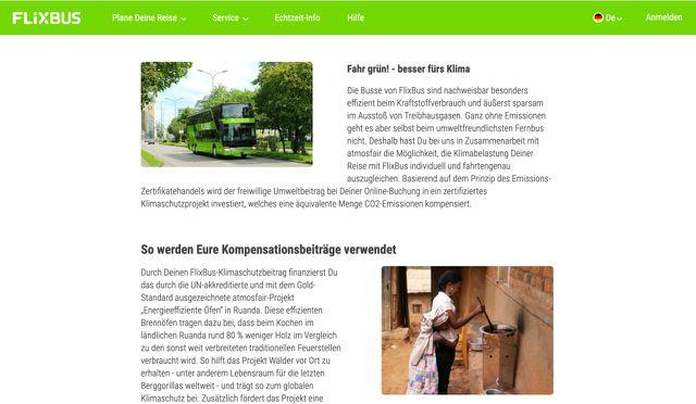 Flixbus wirbt auf ihrer Internetseite damit, die CO2-Kompensationen für nachhaltige Projekte einzusetzen.