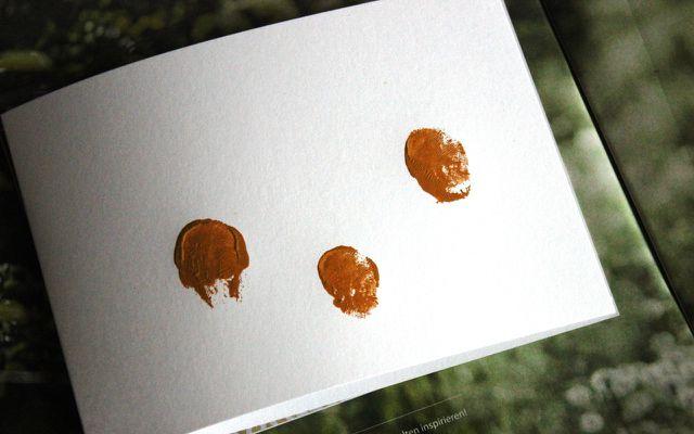 Test-Fingerabdruck für die Osterkarten
