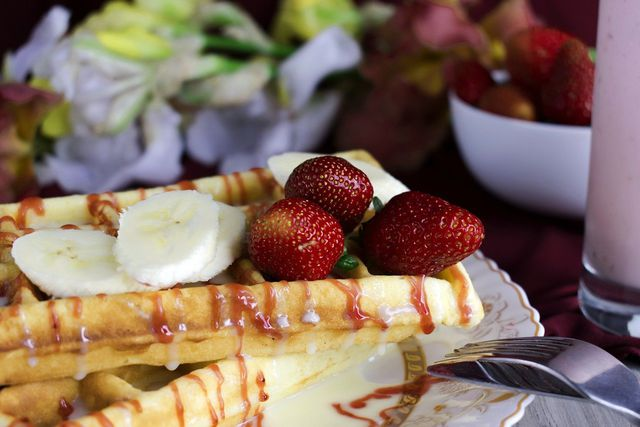 condensed milk on waffles