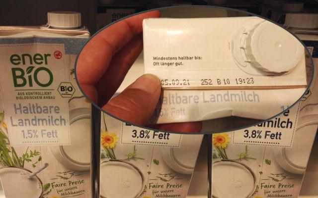 """Auf der enerBio Landmilch steht direkt unter dem MHD der Hinweis """"Oft länger gut""""."""