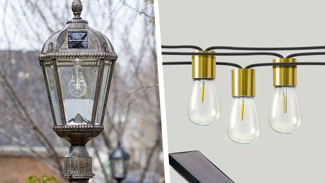 The Glow Solar String Lights and the Rasberry 1 -Light 87'' H Solar Powered Lamp Post will brighten up your garden.