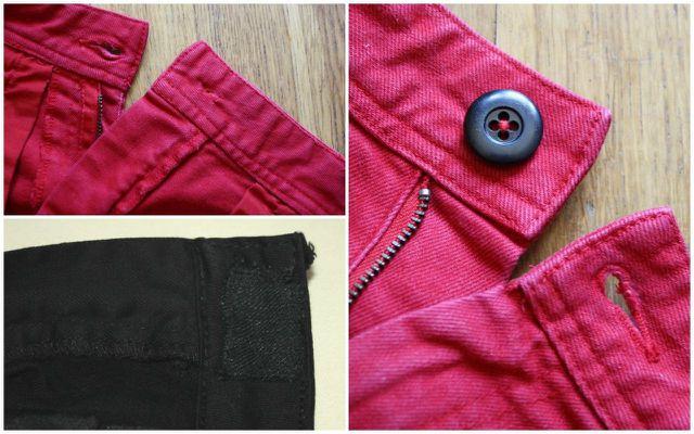 Ersetze den genieteten Jeansknopf durch einen beliebigen Knopf mit vier Löchern.
