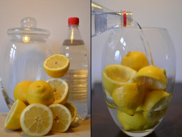 Zitronen auspressen, Essig reingeben, warten: Fertig ist der Allzweckreiniger.