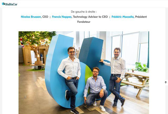 Hier siehst du die drei Unternehmer von Blablacar, darunter auch der Chef von Blablabus.