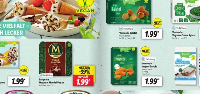 Lidl hat sechs Seiten vegane Lebensmittel im Prospekt.