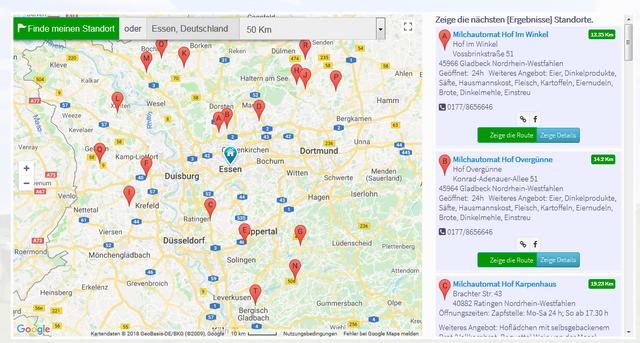 Milchtankstelle finden: Karte von Milchautomaten-Direktvermarkter.de