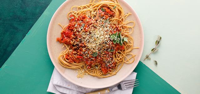 vegane Bolognese, Rezept, Pasta mit Soja-Schnetzel Bolognese