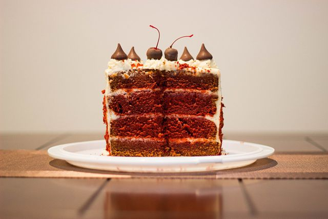The more layers the better for a decadent vegan  red velvet cake.