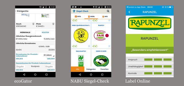 Gehören zu den besten Apps für Android, iOS: ecoGator, NABU-Siegel-Check, Label-Online