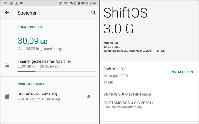 Das Shift6mq kommt mit 128 GB internem Speicher (l.) und Android 10 (r.)