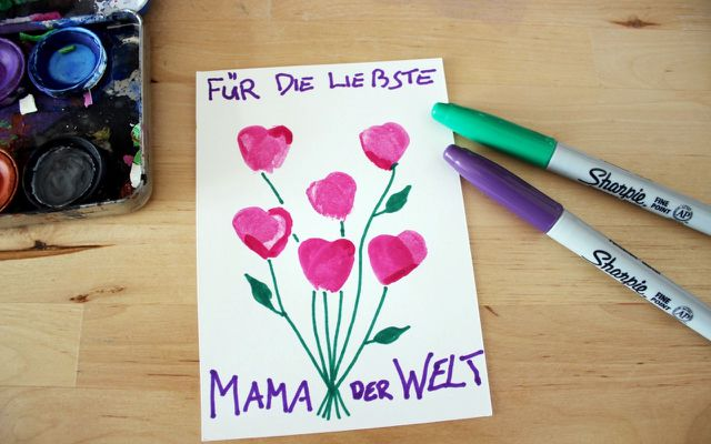 Muttertagskarte selber basteln, Fingerprint