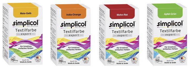 Simplicol Textilfarbe ist in vielen Farben erhältlich.