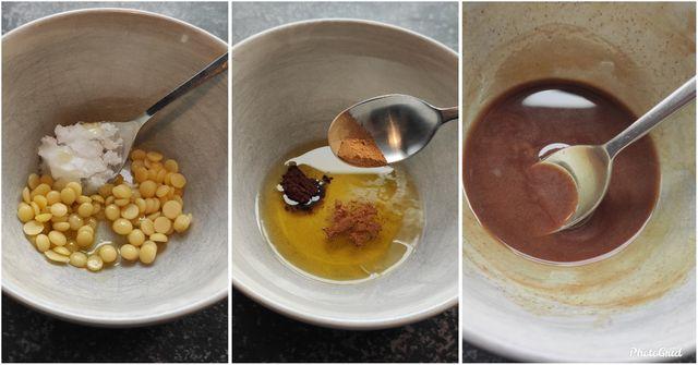 Bienenwachs, Kakaobutter, Kokos- und Olivenöl werden zusammen geschmolzen.
