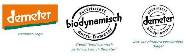 Links das Label der Demeter-Marke, rechts zwei Siegel für von Demeter zertifizierte biodynamische Produkte.