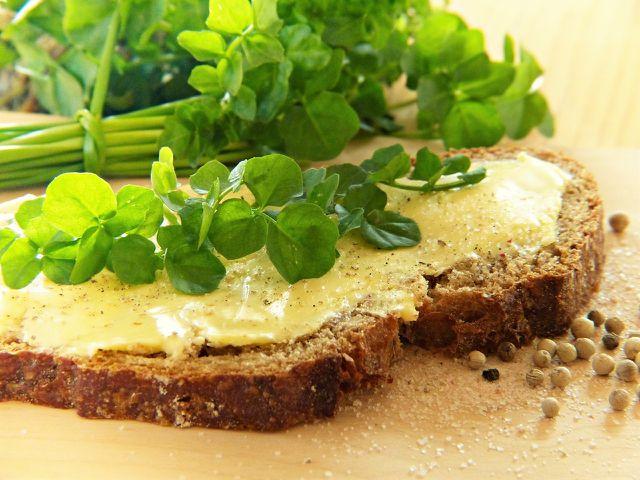 Für den puren Genuss: Einfach ein paar Blätter der Brunnenkresse auf Brot essen.