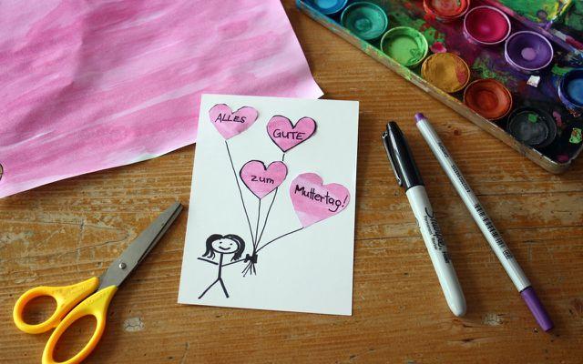 Muttertagskarte selber basteln, Herzen