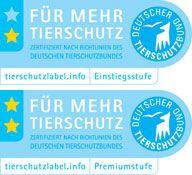 Das Tierschutzlabel des Deutschen Tierschutzbundes in zwei Stufen