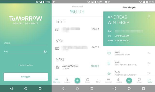 3 Screenshots nebeneinander: die Tomorrow-App informiert über Kontostand und Buchungen und verwaltet die Debitkarte