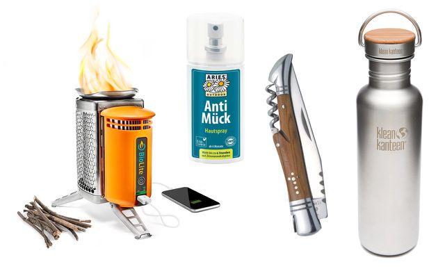 Wichtiger Camping-Zubehör: ein mobiler Herd, Anti-Mückenspray, Taschenmesser und Trinkflasche