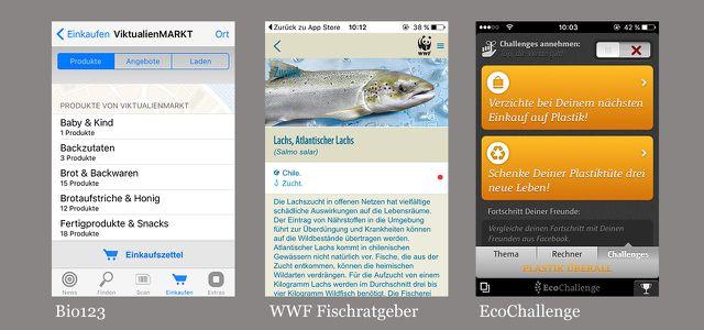 Grüne Apps: Bio123, WWF-Fischratgeber, EcoChallenge