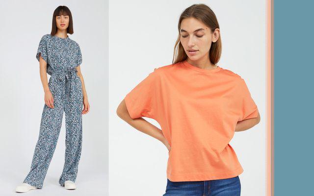 Geblümter Overall und orangefarbenes T-Shirt