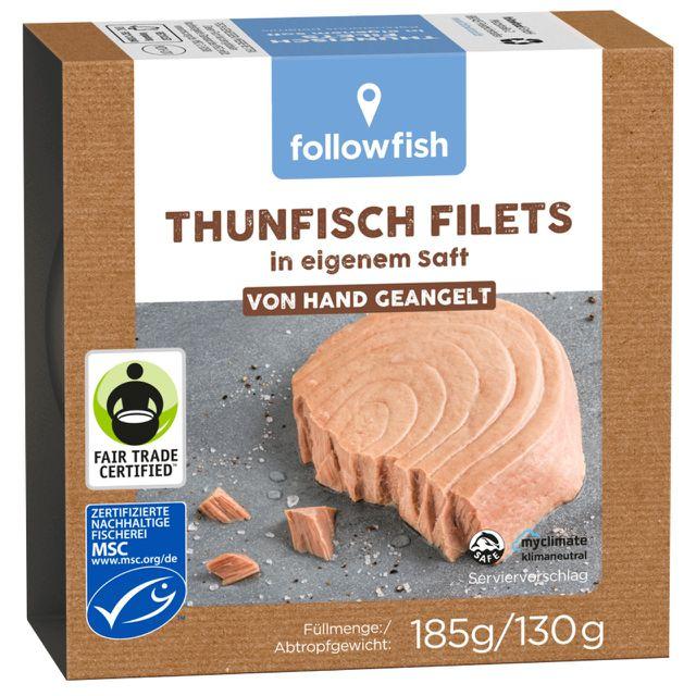 Dosen-Thunfisch mit MSC, Dolphin Safe, Fair von Hand geangelt, klimaneutralisiert