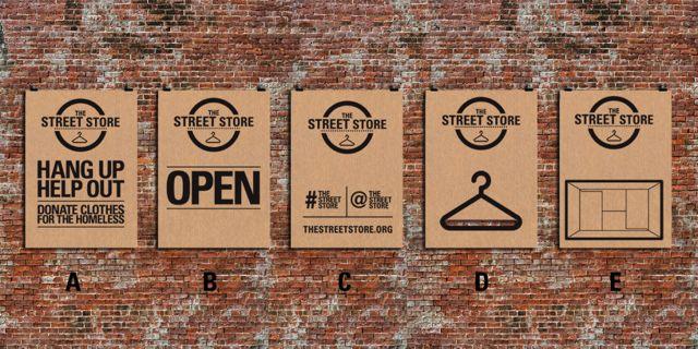 Mit 5 Plakaten steht der Street Store
