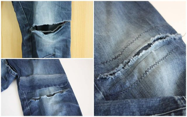Große Risse in Jeans kannst du auch kreativ flicken.