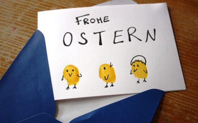 Osterkarten basteln: Schritt 7 – Osterkarte mit Oster-Gruß