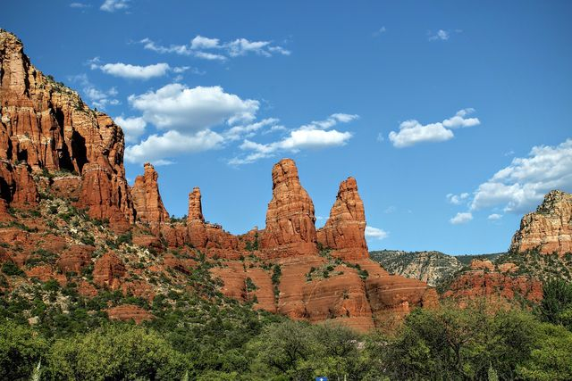 From the train, you'll enjoy perfect views of the red cliffs of Sedona.