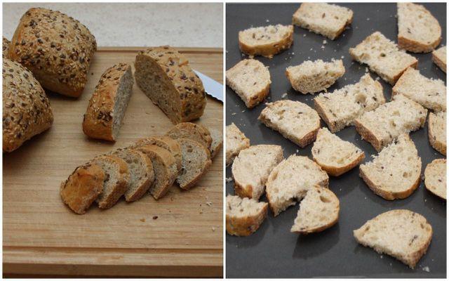 Schneide und trockne Brot auf Vorrat für den Brotpudding.