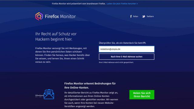 Passwort gehackt? Firefox Monitor gibt Auskunft