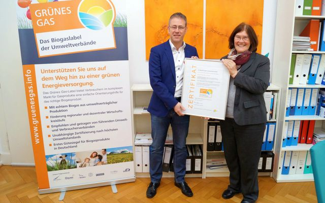 Vergabe des Gütesiegels Grünes Gas an NaturEnergiePlus Biogas