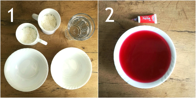 Schleim aus drei Zutaten: Wasser, Stärke, Lebensmittelfarbe.