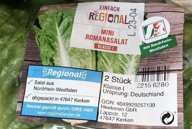 """Regionalfenster """"aus Nordrhein-Westfahlen"""" auf Salat"""
