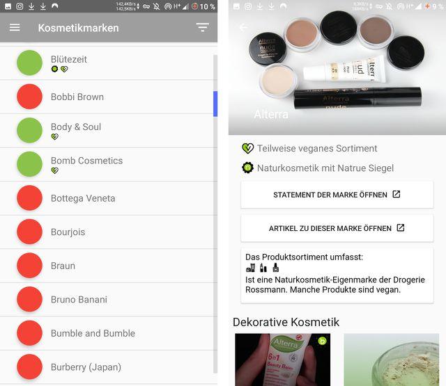 Vegane Kosmetikprodukte ohne Tierversuche findest du in dieser App.