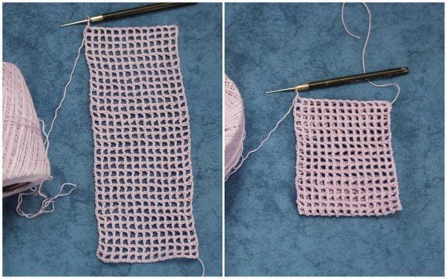 Lege die Häkelarbeit für dein Seifensäckchen in der Mitte zusammen.
