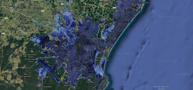 Simulation Anstieg des Meeresspiegels (Ballina, Australien)