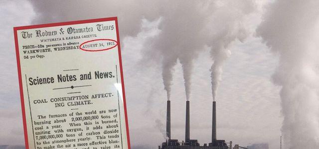 Dieser Zeitungsartikel warnte bereits 1912 vorm Klimawandel.