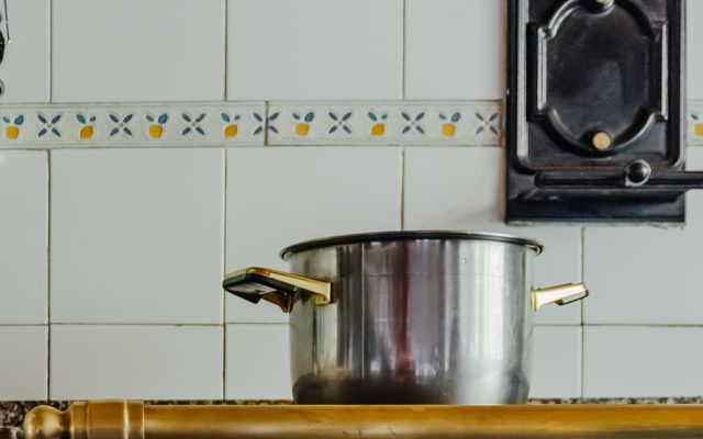 Ginger stock broth pot on stove
