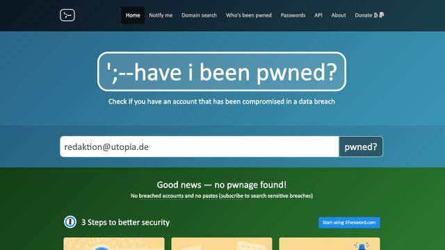 haveibeenpwned.com meldet, dass keine Leaks vorliegen