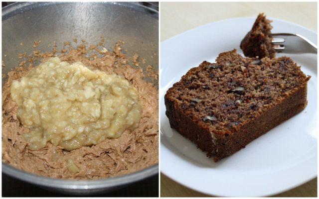 Bananen verwerten im Kuchen mit Schokolade und Walnüssen.